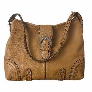Brighton Tan Leather Satchel Tote Handbag